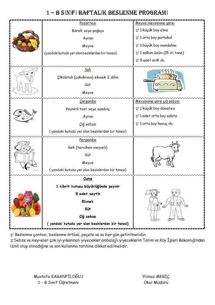 1 Siniflar Icin Haftalik Beslenme Listesi