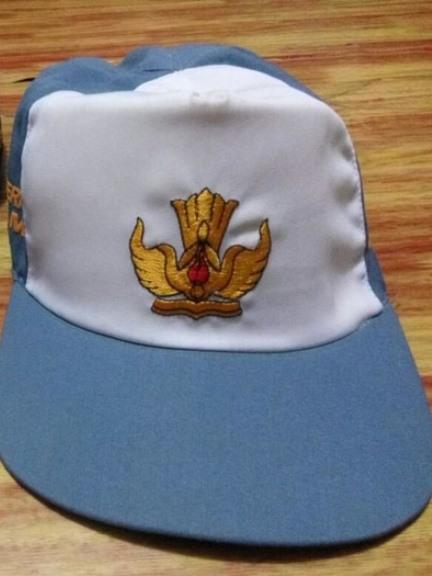 Topi Sekolah Nama dan Logo Bordir