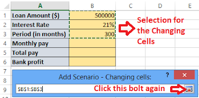 Select your changing cells and click the bolt again