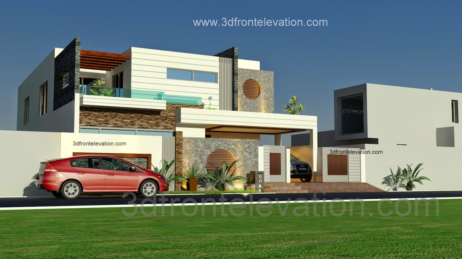 Luxury saudi arabian villa 3d front elevation house gallery for front - Kanal Beautiful Modern House Plan And D Front Elevation Dha Lahore Pakistan