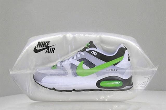 embalagem criativa tênis nike air max dentro de saco com ar