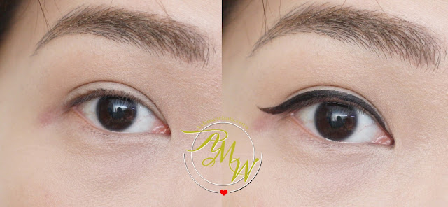 before and after photo of Guerlain L'ART DU TRAIT Precision Felt Eyeliner 01 Ultra Black