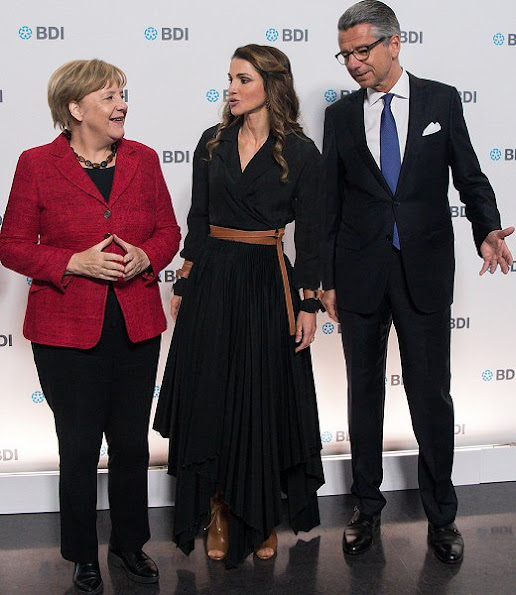 Queen Rania, German Chancellor Angela Merkel and President of the Federation of German Industry Ulrich Grillo, Queen Rania wore dress, style