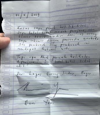 Surat Buni Yani: Saya Sekamar Bareng Pecandu Narkoba dan Pembunuh
