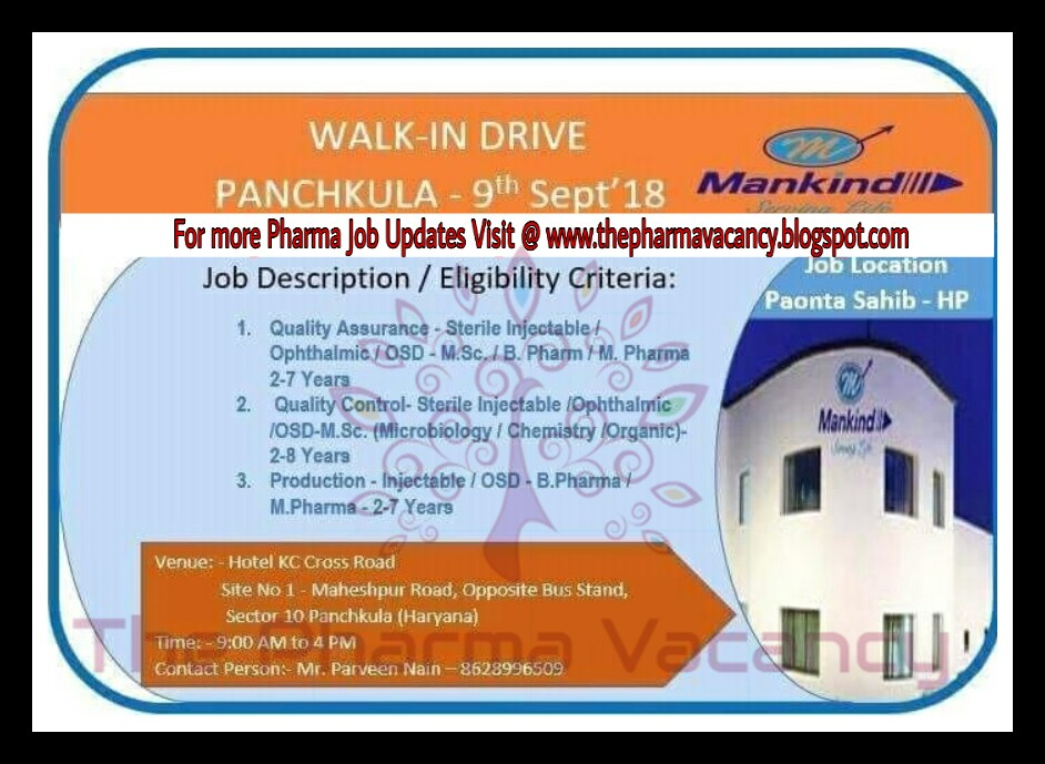 Mankind | Walk-In for Multiple Positions | 9th September, 2018