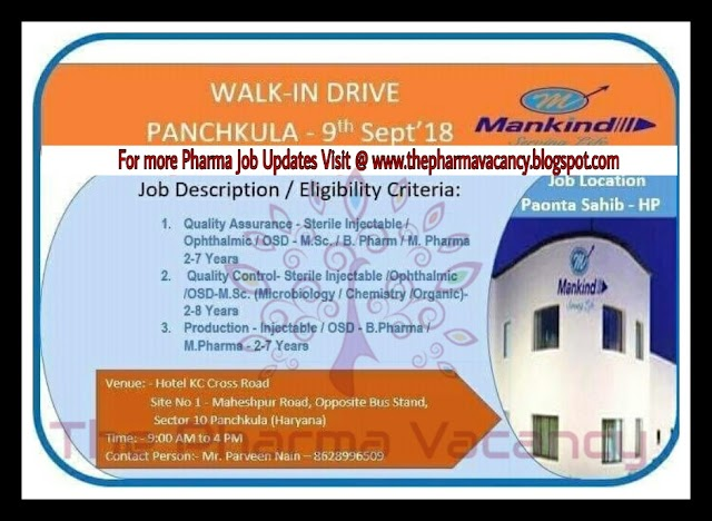 Mankind | Walk-In for Multiple Positions | 9th September, 2018 | Panchkula