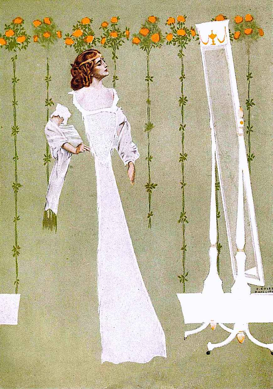 a Coles Phillips illustration of a woman at her mirror
