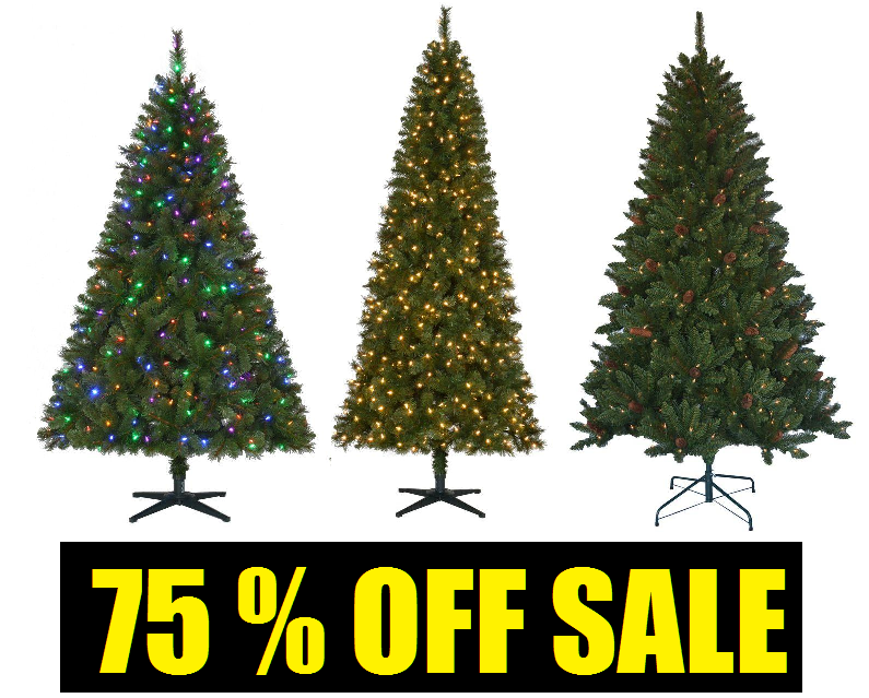 75 off christmas trees sale 65 foot jackson spruce artificial pre lit christmas tree with clear lights and pinecones 2975 75 wesley slim spruce - 75 White Christmas Tree