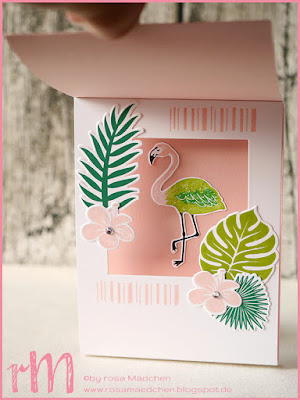 Stampin' Up! rosa Mädchen Kulmbach: Stamp Impressions Blog Hop: Tropical Flair: Inner Shadow Box Karte mit Tropenflair, Pop of Paradise, Thinlits Palmengarten und Designerpapier Traumhaft Tropisch