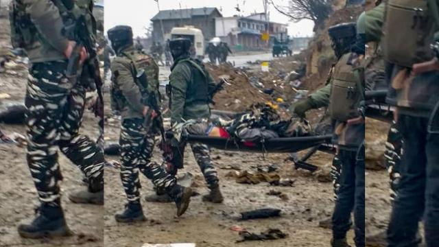 Image Attribute: The site of the Pulwama attack resembled a war zone with body parts and vehicle debris is strewn about / Date: February 14, 2019. / Source: Reuters