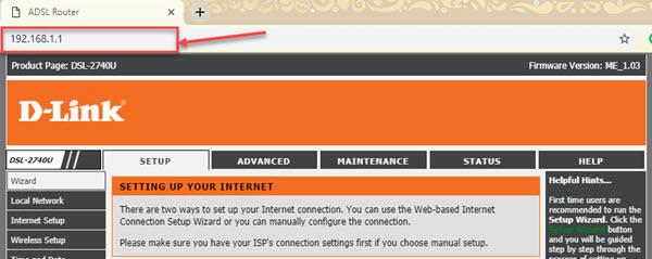 dlink dsl-2740u, wireless router, default ip address