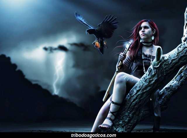gotica solitaria com seu amigo corvo