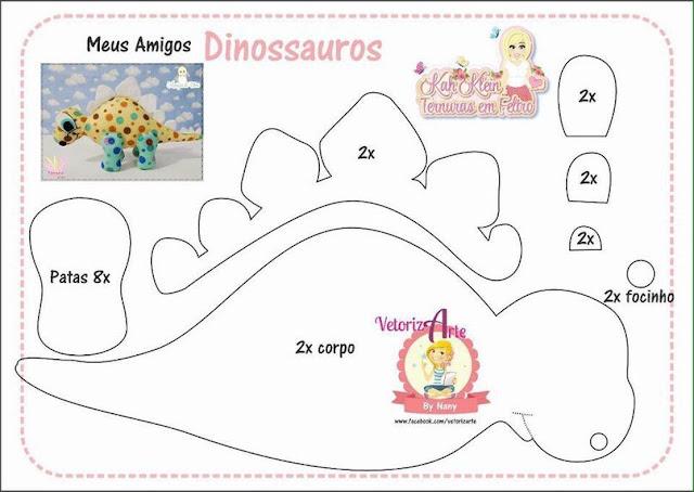 Well-known Molde de Dinossauros baby em Feltro - Como Fazer KN39