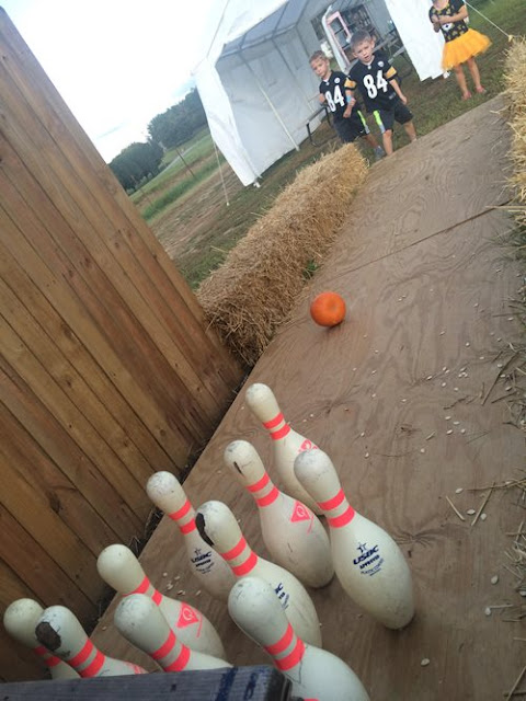 Pumpkin bowling for the little ones at Fiddle Dee Farms, Hendersonville, TN.