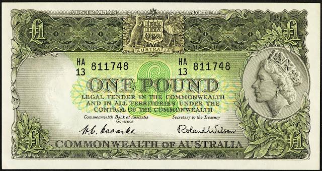 Commonwealth of Australia One Pound banknote 1953 Queen Elizabeth II