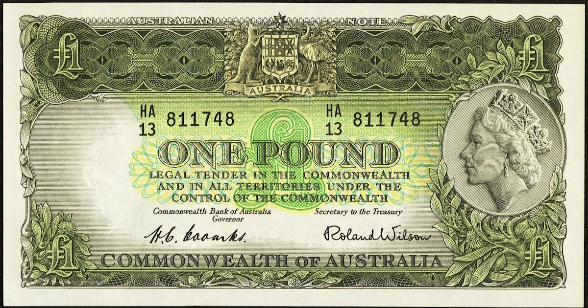 Commonwealth Bank Australia One Pound banknote 1953 Queen Elizabeth II|World ...