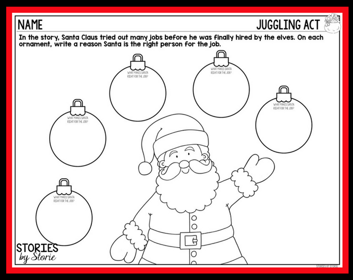 it has comprehension and vocabulary activities along with a sequencing activity and two directed drawings - Santa Activities
