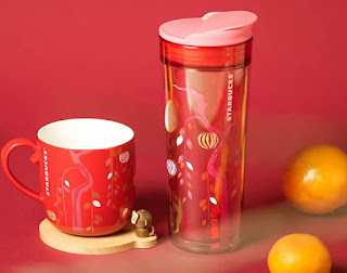 Source: Starbucks. Left: lunar new year mug and coaster set; right: tumbler.