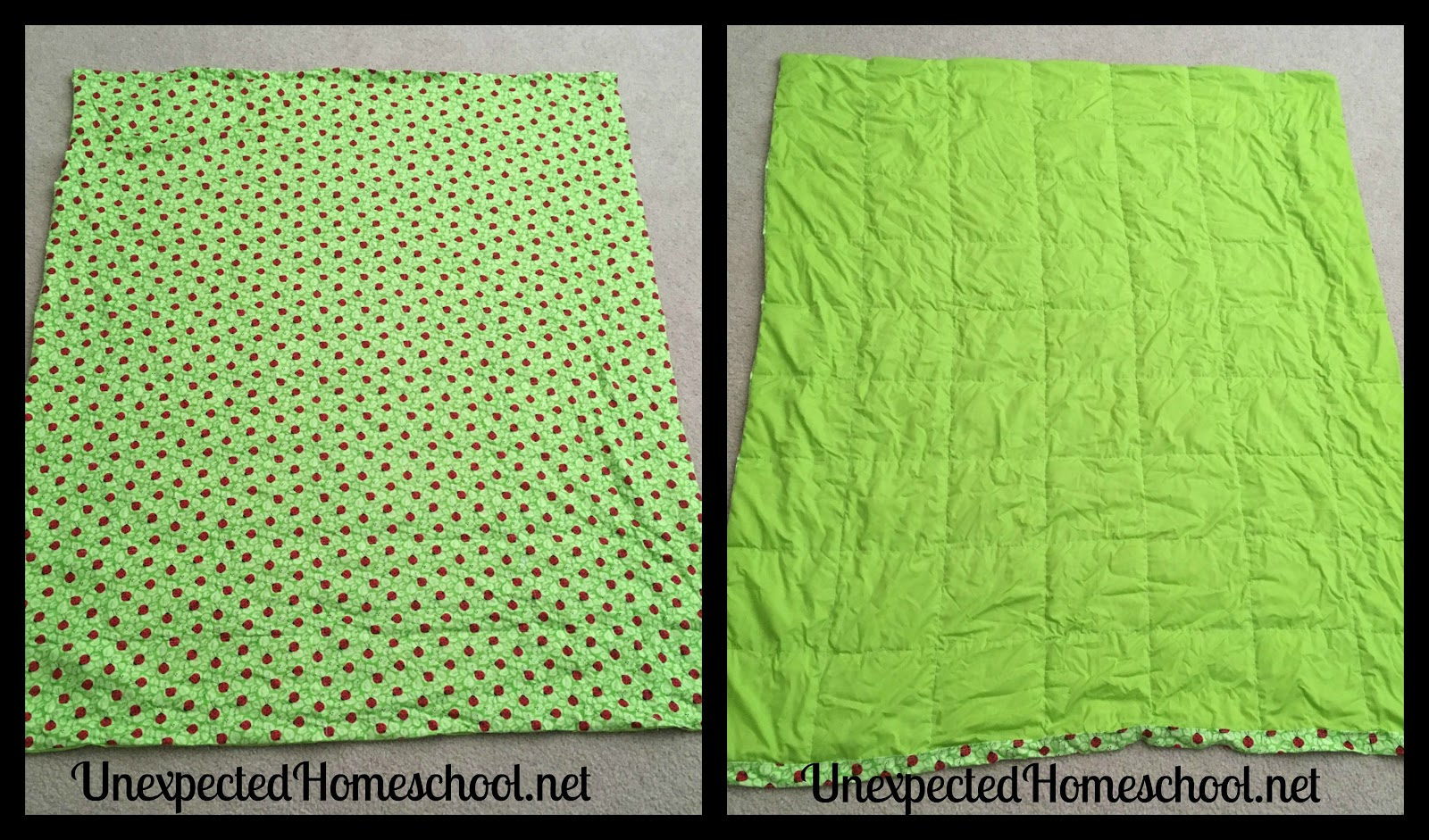 Unexpected Homeschool Weighted Blanket Sewing Instructions