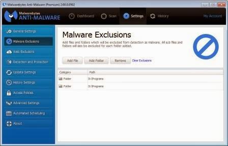 Malwarebytes exclusion
