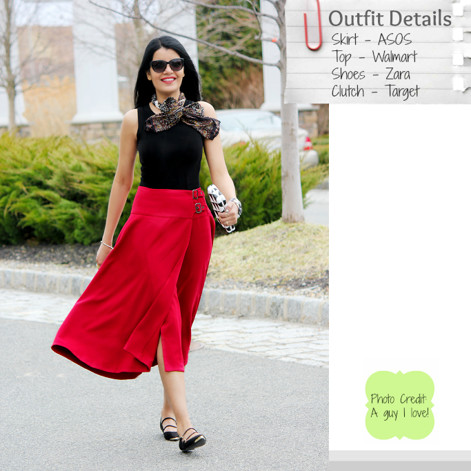 ASOS red midi skirt, How To wear Midi Skirts, Full Midi Skirt, Zara Three Strap Flats