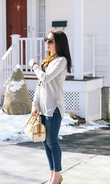 Grey Sweater Silk Scarf