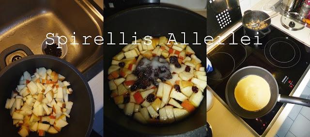 Herstellung Eierkuchen, Pfannkuchen oder Eierpfannkuchen