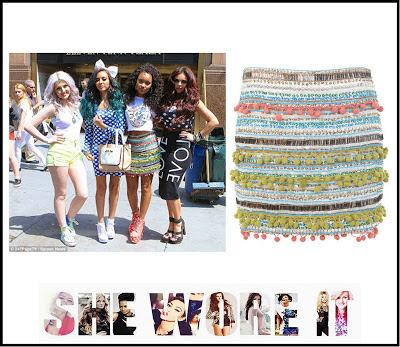 Bodycon, Embellished, Leigh-Anne Pinnock, Little Mix, Mini Skirt, Miss Selfridge, Multicoloured,  Skirt, T-shirt, Sequin, Bead