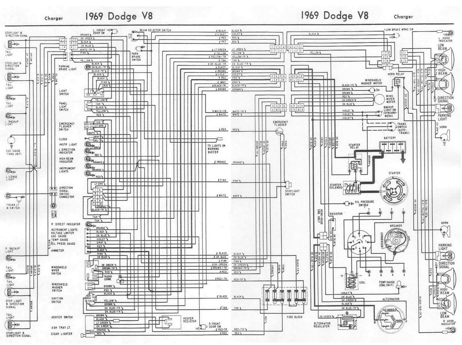 1969+Dodge+Charger+V8+Complete+Wiring+Diagram dodge charger 1969 v8 complete electrical wiring diagram all dodge wiring harness diagram at soozxer.org