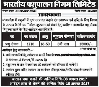 Bharatiya Pshupalan Madhya Pradesh Pashu Sevak Jobs Recruitment