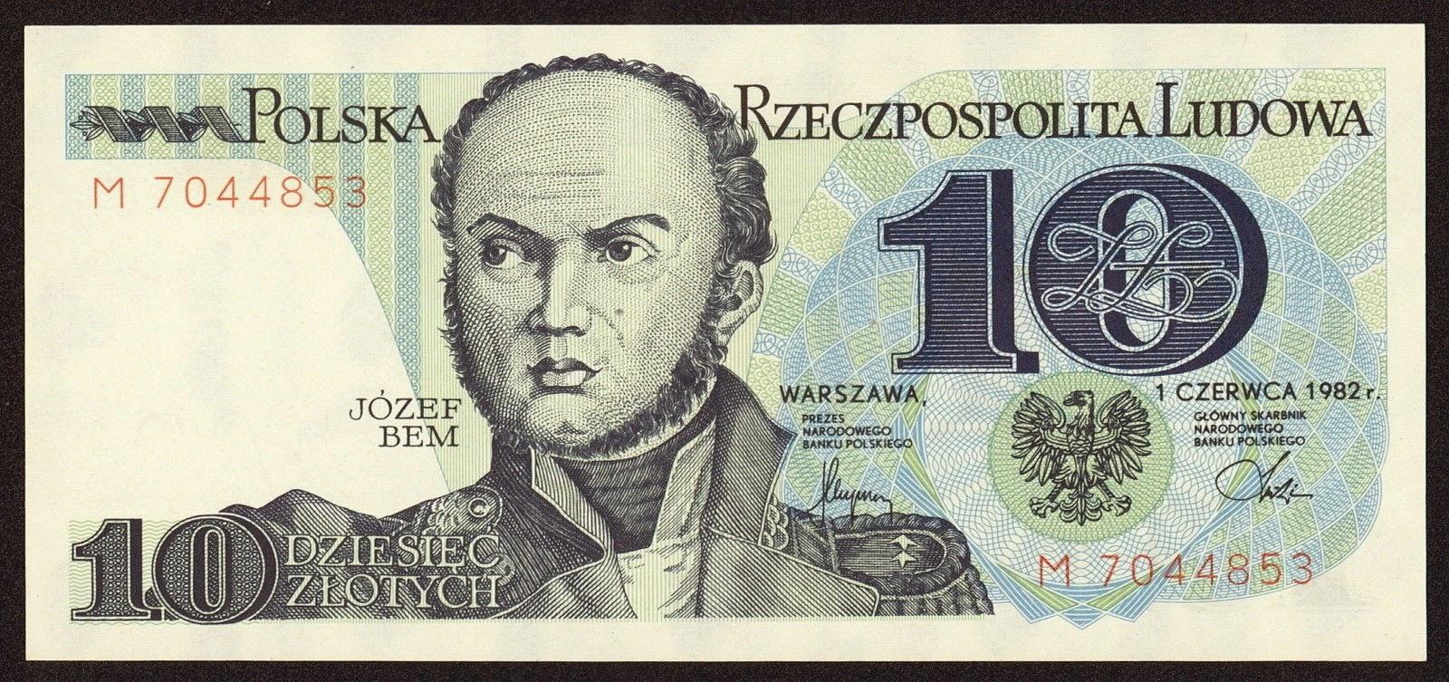 Poland Banknotes 10 Zloty banknote 1982 Jozef Bem
