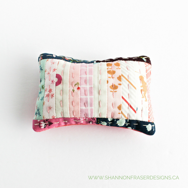 Hand Quilted Pin Cushion | Shannon Fraser Designs | Playground Fabric Art Gallery Fabrics | Fabric Scraps | Modern Quilting | Big Stitch Hand Quilting