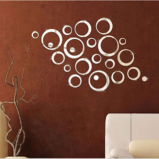 HOODDEAL 1 Set Acrylic Mirror Style Removable Decal Vinyl Art Wall Sticker Home Decor (24 PCS)