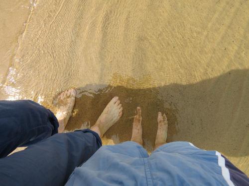 wading in Lake Superior