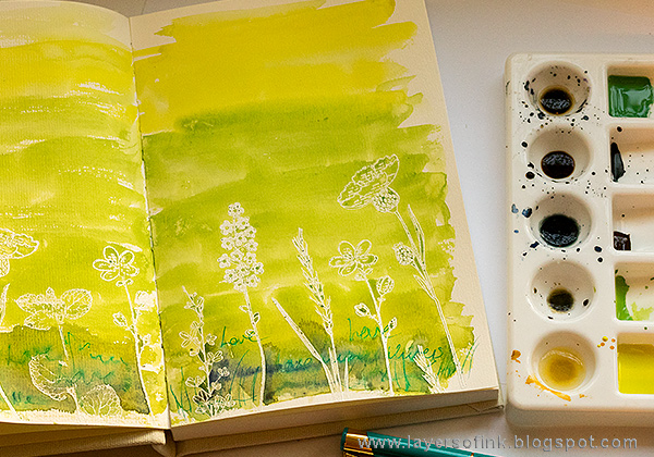 Layers of ink - Shimmery Watercolor Art Journal Tutorial by Anna-Karin Evaldsson in Jane Davenport journal
