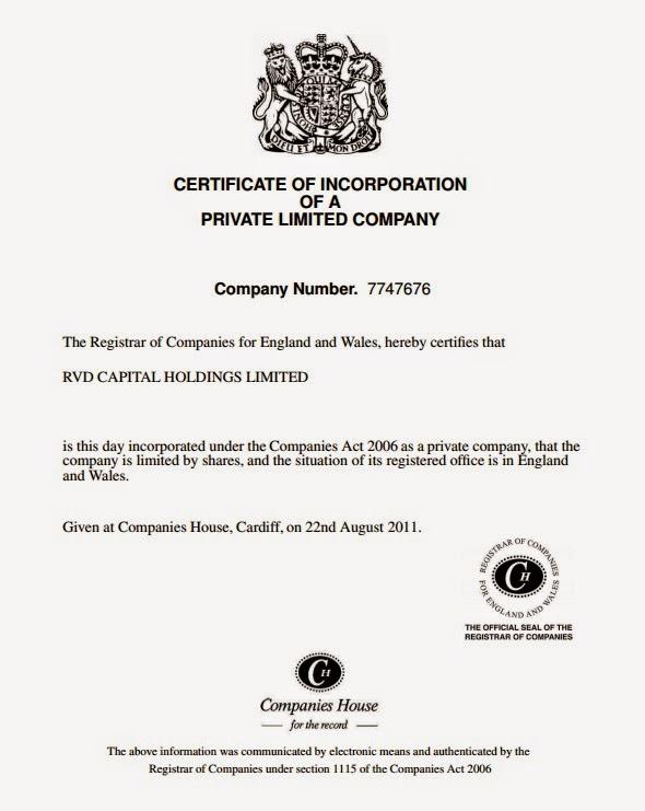 Сертификат регистрации RVD Capital Holdings Limited