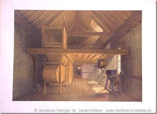 Lithographie en couleurs – texte en français et anglais « Intérieur de la chambre de Ste-Hélène (dans laquelle Napoléon mourût) » du Lt F.R..Stack – 1851 – Collection des domaines français de Sainte-Hélène