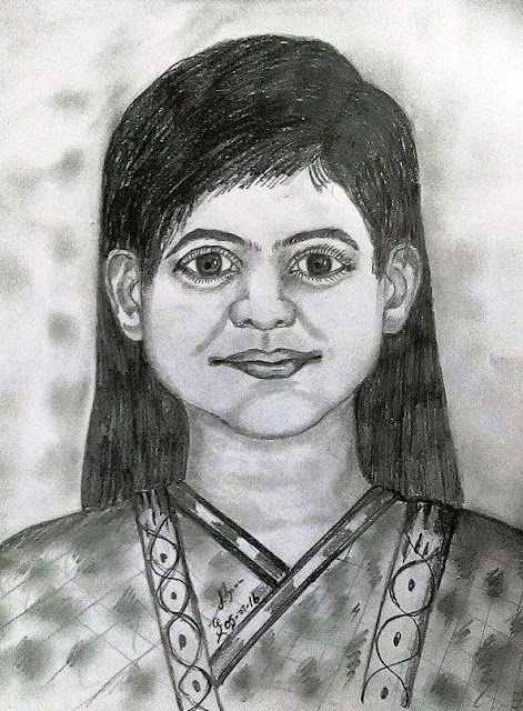 PENCIL DRAWING - CREATIVE GIRL