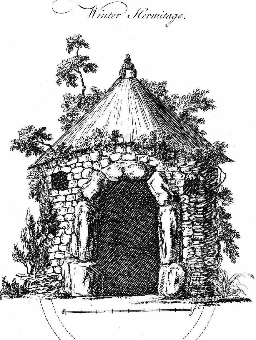 an illustration of a 1760 hermitage hut for a hermit