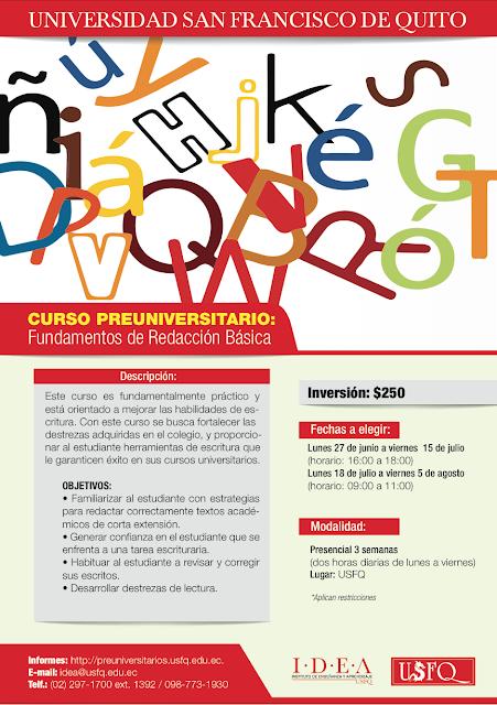 Curso preuniversitario: Fundamentos de Redacción Básica