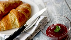 Delicious Croissant with Jam at Dessert
