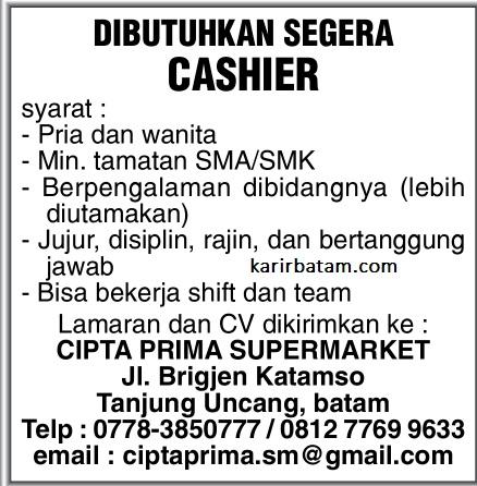 Lowongan Kerja Cipta Prima Supermarket