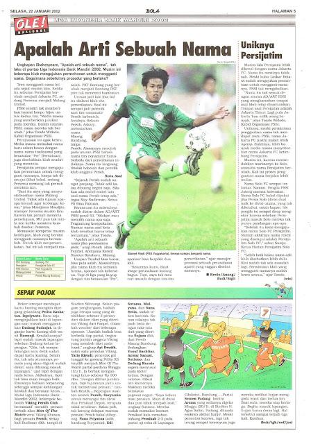 LIGA INDONESIA BANK MANDIRI 2002: APALAH ARTI SEBUAH NAMA