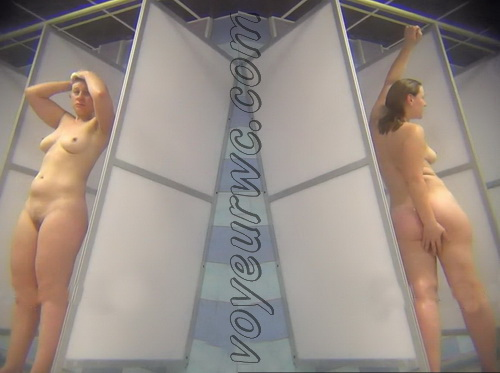 A hidden camera in a public shower films gorgeous women while they soap up their bodies (Hidden Camera Public Shower 252-264)