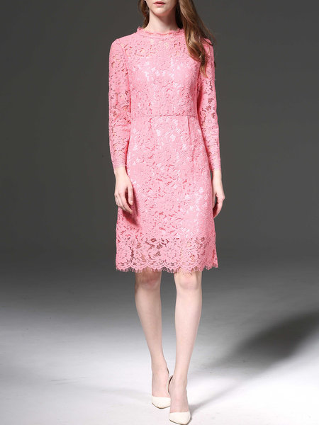 Pink Guipure lace long sleeve party dress from Mingysyi