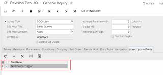 enable Mass Field Update  acumatica