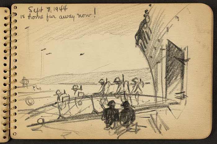 21-Year-Old WWII Soldier's Sketchbooks Show War Through The Eyes Of An Architect - Soldiers Disembarking On Gangplank From Ship In Cherbourg Harbor, France