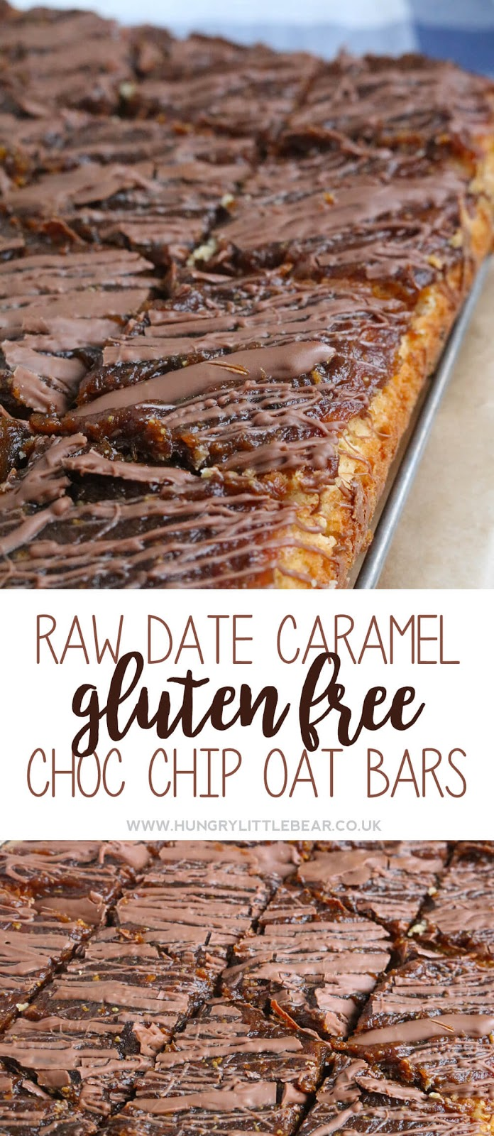 Raw Date Caramel Gluten Free Chocolate Chip Oat Bars | Hungry Little Bear
