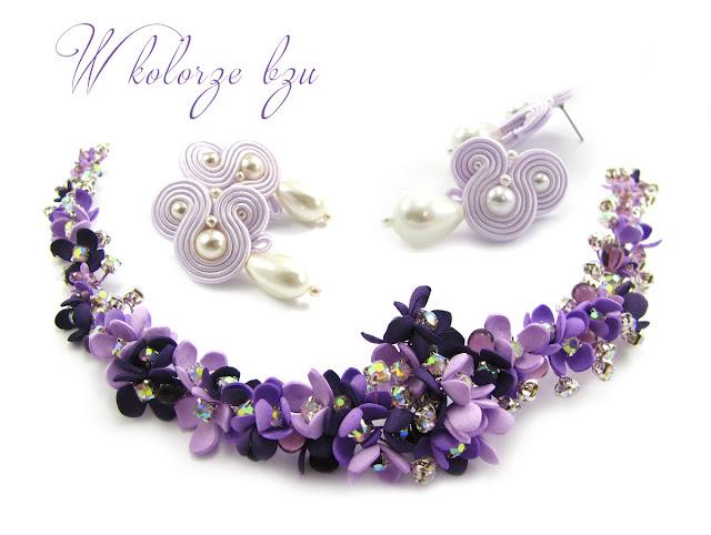 Fioletowa biżuteria ślubna - wianek i kolczyki