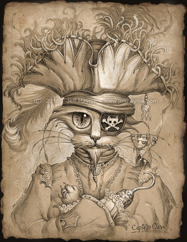 02-Captain-Claw-Jeff-Haynie-Cats in Drawings-Paintings-and-Jewelry-www-designstack-co